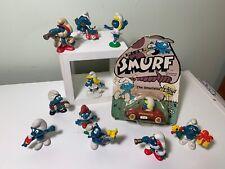 Vintage 70's 80's Smurf PVC Figures Schleich Peyo  Lot Smurfetta Die Cast Car