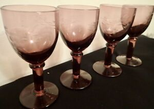 SET 4 MID-CENTURY AMETHYST PURPLE CORDIAL GLASSES with ETCHED GRAPE DESIGN