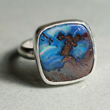 925 Boulder Opal Sterling Silver Ring Nice Blue Green Colour