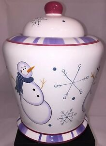 """New Large 10"""" SNOWMAN COOKIE JAR CERAMIC HOLIDAY CHRISTMAS CRAZY MOUNTAIN"""