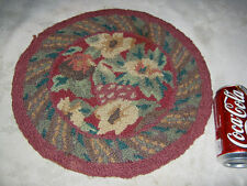 ANTIQUE PRIMITIVE COUNTRY FARM HOUSE TABLE FLOWER HOOKED MAT RUG FLOWER ART