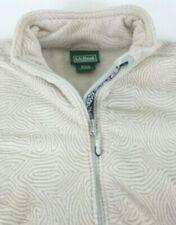 LL Bean Women Size L Large Full Zip Fleece Jacket Design Cream/Silver Embroi cc
