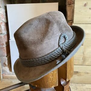 VTG Suede Leather Fedora Trilby Hat Taupe EU 57 UK 7 US 7 1/8 German Traditional