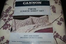 Cannon Flannel Sheet Set Purple floral pattern TWIN Size NWT