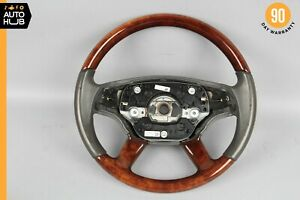 07-10 Mercedes W216 CL550 S550 Driver Steering Wheel w/ Paddle Shifters Wood OEM
