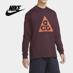 Nike ACG Men's Long-Sleeve Heavy Cotton Shirt Deep Burgundy size Large L