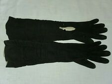 VINTAGE BLACK SUEDE KID OPERA GLOVES 6 3/4