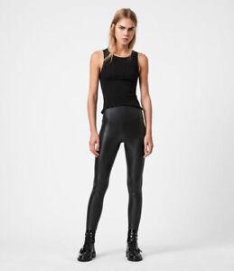 All Saints Womens Cora Designer High Rise Skinny Leather Look Fabric Leggings