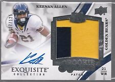 2013 UD Exquisite Keenan Allen On Card Auto 2 Color Player Worn Patch Rc # /125