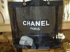 CHANEL Black Mesh Shopping Travel Tote bag Leather Chain VIP Gift
