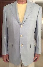 Authentic Zilli Men's Light Blue 3 Button Silk & Cashmere Sport Coat, 56/46, New