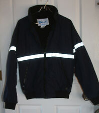 Galls Fleece Lined Jacket Reflective Insulated Coat Small Blue Water Resistant