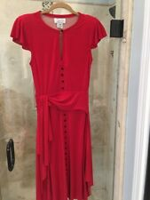 Byron Lars Beauty Mark Red Pin Up Button Up Pencil Sheath Dress  0 2 Xs