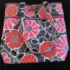 "VERA BRADLEY Retired Cheery Blossom Floral Red Pink Large Toggle Tote  14""x 14"""