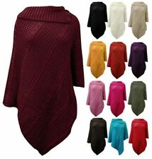Acrylic Poncho Solid Jumpers & Cardigans for Women