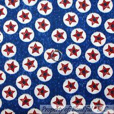 BonEful Fabric FQ Cotton Quilt STAR Captain America Shield Super Hero Boy Circle