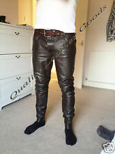 BESPOKE 100% GENUINE LAMB BROWN  LEATHER Mens THIGH FIT PANTS JEANS  TROUSERS