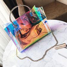 2pcs Women Holographic Chic Tote Clear Hologram Handbag Purse Laser Shoulder Bag