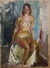 Russian Ukrainian soviet Oil Painting Impressionism female portrait woman nude