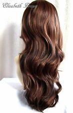 Beautiful Layers Brown Black mix Long Curly 3/4 Wig Hairpiece Half Wig 038