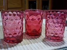 LOT OF 3 VINTAGE CRANBERRY GLASS TUMBLERS-COIN DOT-SPOT OPTIC