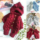 Newborn Infant Baby Girl Boy Winter Thick Warm Coat Knit Outwear Hooded Jumpsuit