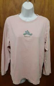 Women's Life Is Good Gotta Run Pink Long Sleeve T-Shirt Size Large