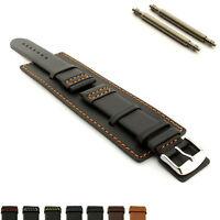 Mens Genuine Leather Watch Strap Band SOLAR Wrist Cuff SS. Buckle, Spring Bars