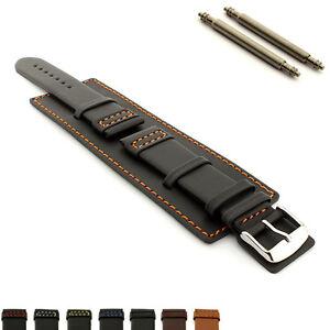 Men's Genuine Leather Watch Strap Band Wrist Pad Cuff 18 20 22 24 SOLAR MM