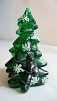 Mosser Glass Hand Painted Poinsettia on Hunter Green Mini Christmas Tree
