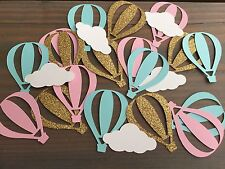 50 Hot Air Balloon Confetti, Baby Shower, Birthday Party, Gold Glitter Pink Mint