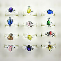Wholesale Lots 10Pcs Mixed Color CZ 925 Silver Plated Women's Rings 6-8