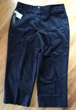 NWT Women's Foxcroft Black Cropped Flat Front Pants 12