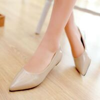 Women Pointed Toe Slip On Fashion Flats Spring Faux Leather Ballet Pumps Shoes