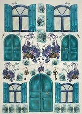 Rice Paper Door, Windows, Flower Blue for Decoupage Scrapbook Craft Sheet