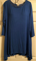 Fanfare Boutique Women's Blue Summer Tunic Top 3/4 Sleeves Asymmetric Hem Large