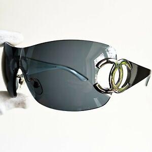 occhiali da sole CHANEL 4124 Oversize oval wrap sunglasses vintage mask rare 90s