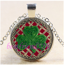 Glass Tibet Silver Pendant Necklace#Ca94 Red Shamrock And Celtic Knots Cabochon