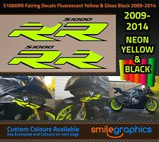 BMW S1000RR Fairing Decals. 2009-14 - Fluorescent Yellow & Gloss Black Stickers