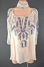 ❤️4 Love & Liberty Johnny Was Top M Ivory SILK Sheer Embroidered Gypsy blouse