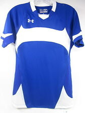 UNDER ARMOUR, DOMINATE SHORT SLEEVE JERSEY, LARGE, POLYESTER, BLUE/ WHITE, NEW