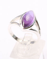 Sterling Silver Split Band Ring with marquise Set Amethyst, Size S