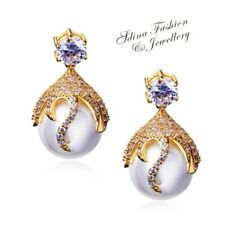 Copper+18K Yellow Gold GF Made With Swarovski Simulated Pearl Luxury Earrings