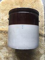 Vintage Antique 5 Gallon Two Tone Brown Glaze Stoneware Crock, Stamped