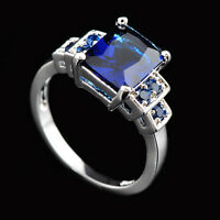 Classic Sapphire Rings Blue CZ Size 6-10 Women's 10Kt White Gold Filled Wedding