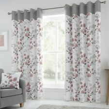 Paige Ready Made Lined Eyelet Curtains Blush