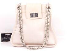 rk246 Auth CHANEL Pink Calfskin Leather 2.55 Turn Lock Chain Shoulder Bag