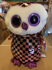 "Ty FLIPPABLES: CHECKS -Shiny Pink/Black/Silver Sequin Owl 10"" Beanie Boo! *RARE*"