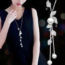 Women Leaves Crystal Bib Statement Long Chain Pendant Pearl Necklace Jewelry