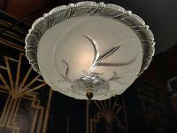 """Antique 20s-30s Art Deco,Nouveau Semi Flush Ceiling Chandelier Light Fixture 14"""""""